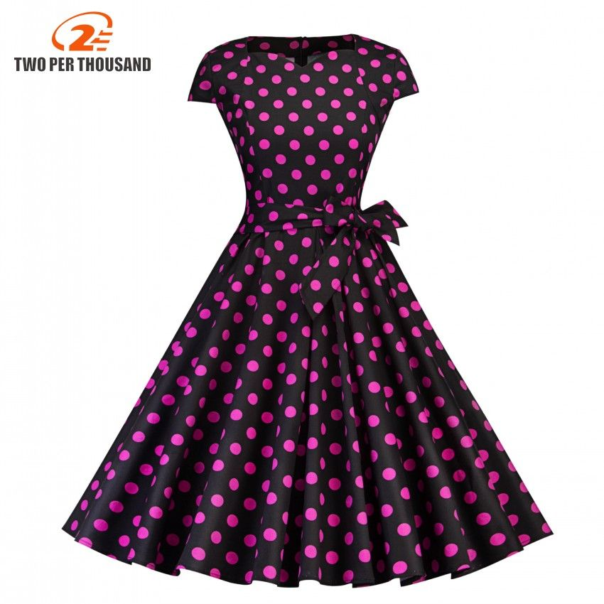 Summer dress women 2018 Cap Sleeve Pink Polka Dot Print V Neck Audrey Hepburn Vintage 50s 60s Skater Knee Length dresses