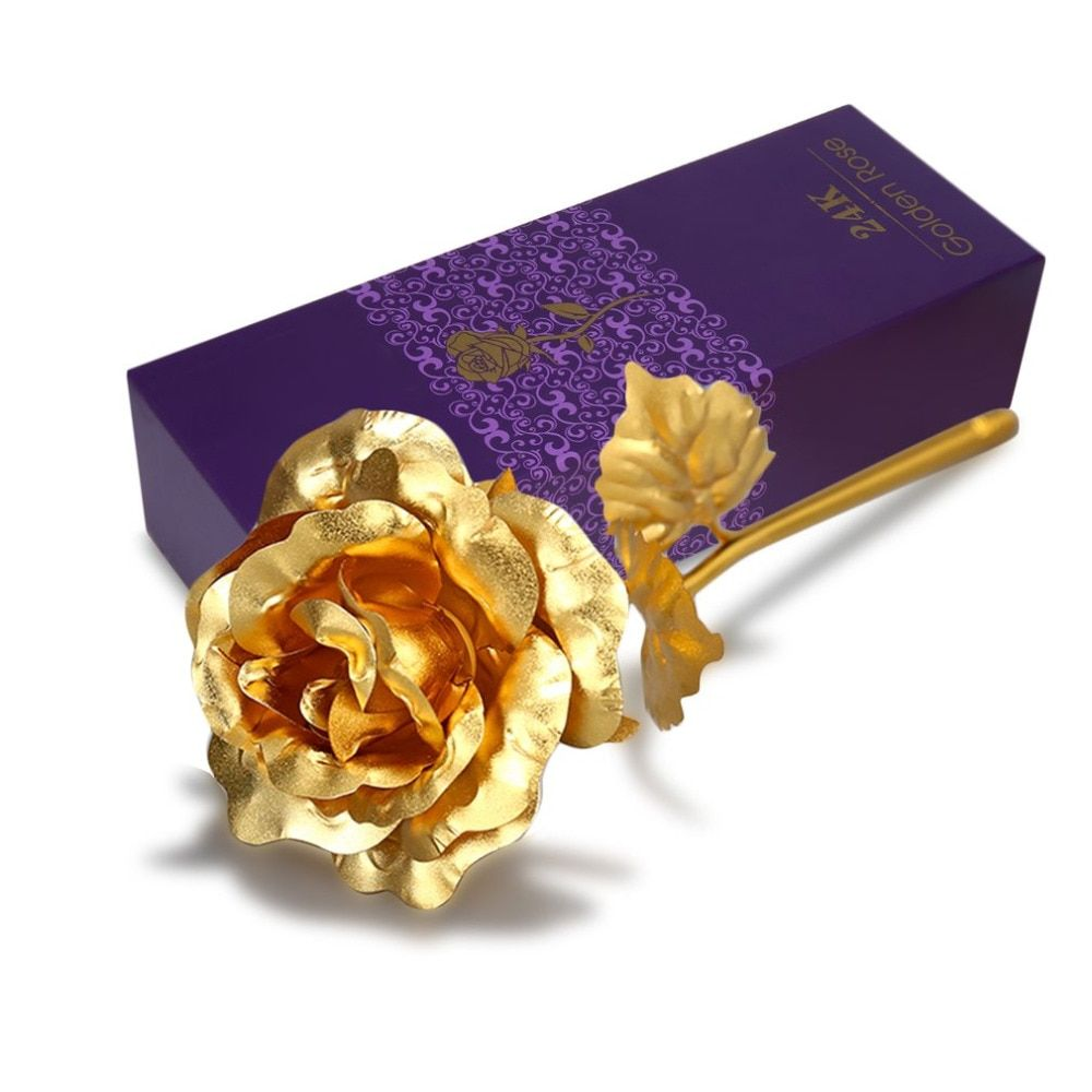 Valentine's Day Gift 24K Gold Plated Golden Rose Flower Holiday Present Wedding Party Decoration With Retailed Box Drop shipping