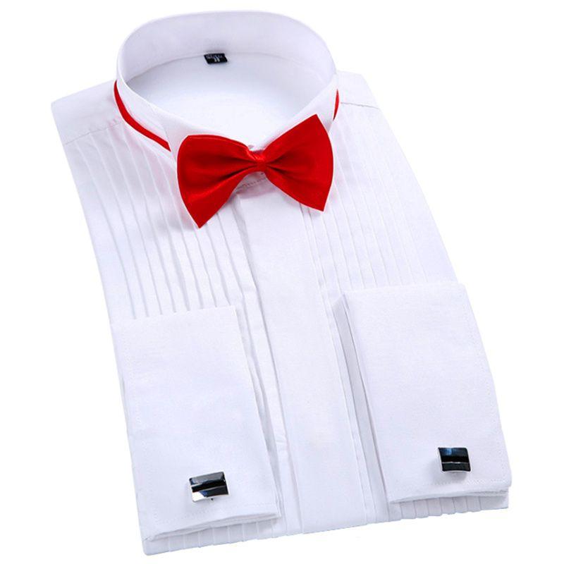 Marke 5XL Neue Ankunft männer Französisch Tuxedo Shirt Männer Lange ärmel Kleid Shirt Herren Einfarbig Umlegekragen Hemd Formale männlich