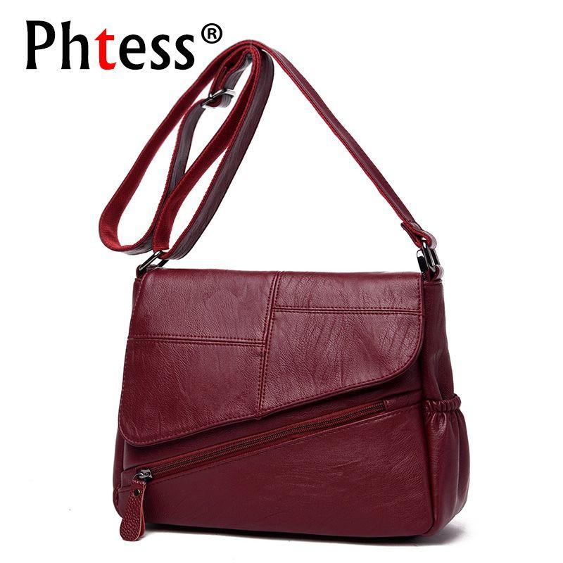 PHTESS New Female Messenger Bags Feminina Bolsa Leather Luxury Handbags Women Bags Designer 2017 Sac a Main Ladies Shoulder Bag