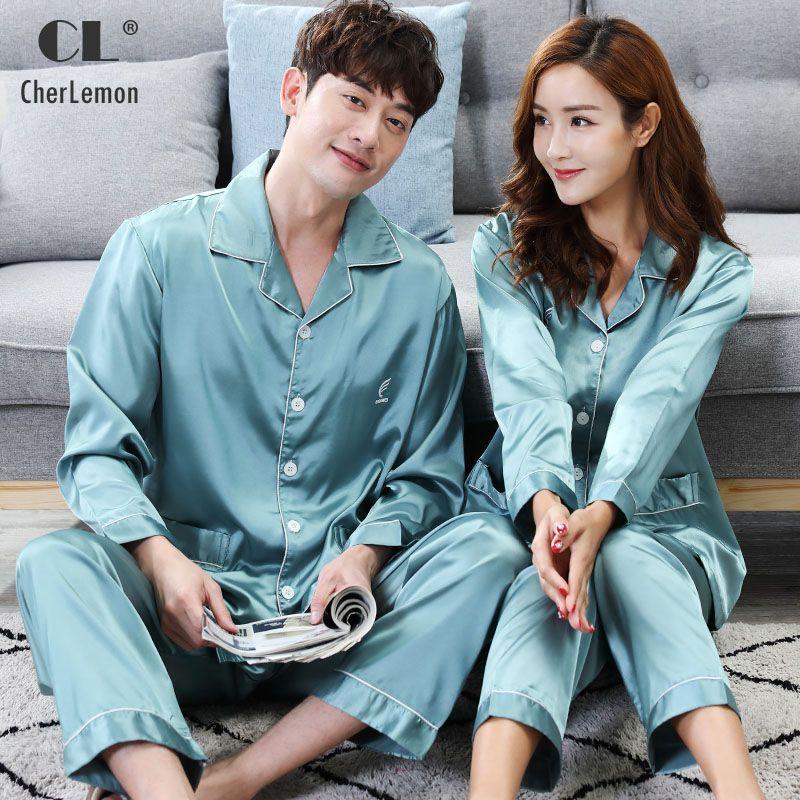 CherLemon Couple Correspondance Soie Satin Pyjama Ensemble Solide Plein Manches Femmes vêtements de Nuit Hommes Classique Bouton-up Détente Haute Qualité
