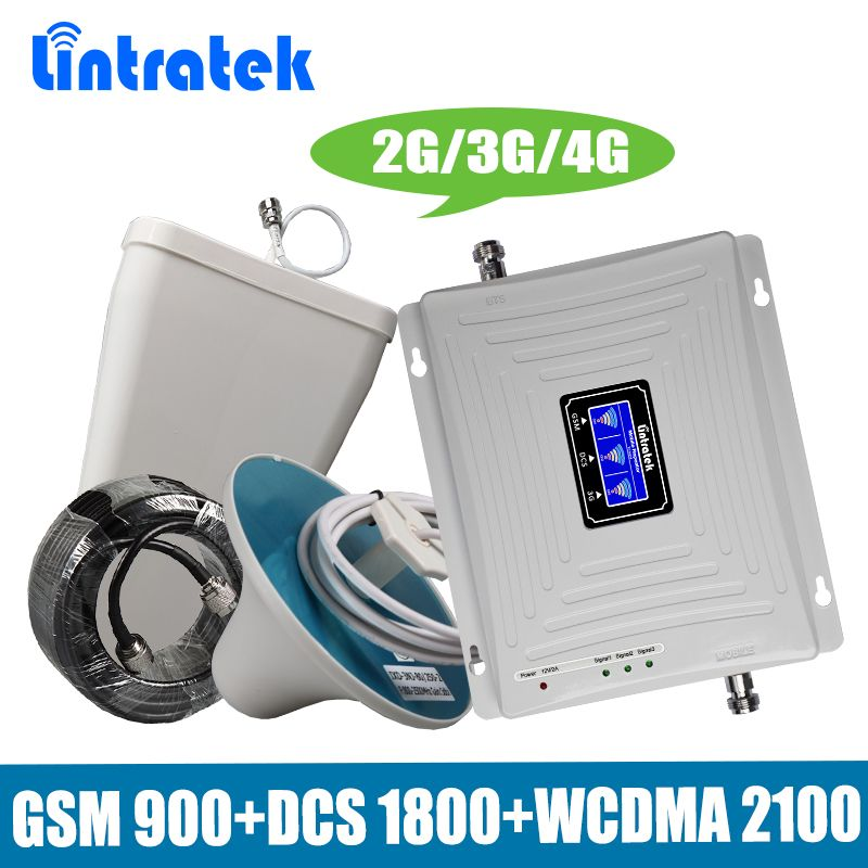 Lintratek Tri-Band 2G/3G/4G Mobile Signal Booster GSM 900+DCS/LTE 1800+WCDMA UMTS 2100 MHz Cellphone Repeater Amplifier Antenna