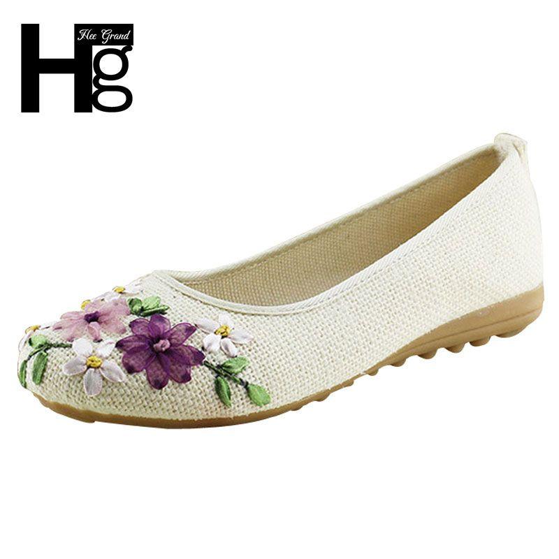HEE GRAND 2019 femmes fleur appartements sans lacet coton tissu chaussures décontractées confortable bout rond chaussures plates femme grande taille XWD3644