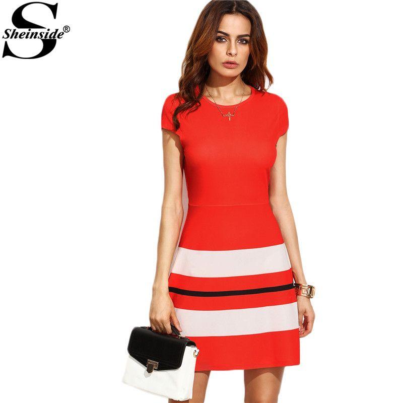 Sheinside Red Striped Print Cap Sleeve A Line Dress Office Ladies Work Wear Round Neck Short Sleeve Mini Dress