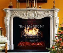 Luxueux sculpté pierre cheminée en marbre cheminée cadre classique de style Européen