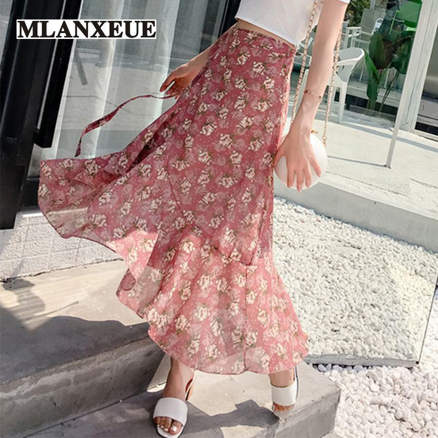 Diverse Print Straight Irregular Sashes Fishtail Skirt Women Skirts Lace-Up Soft Beach Skirt Woman Summer Ruffles Casual Skirts