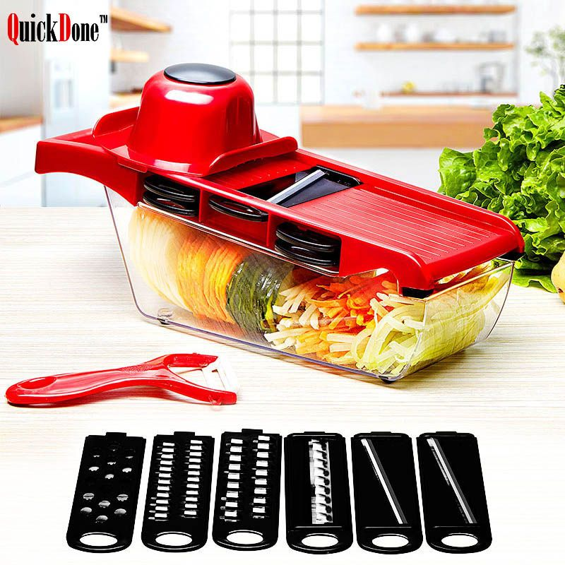 QuickDone Creative Mandoline Slicer Vegetable Cutter with Stainless Steel <font><b>Blade</b></font> Manual Potato Peeler Carrot Grater Dicer AKC6035