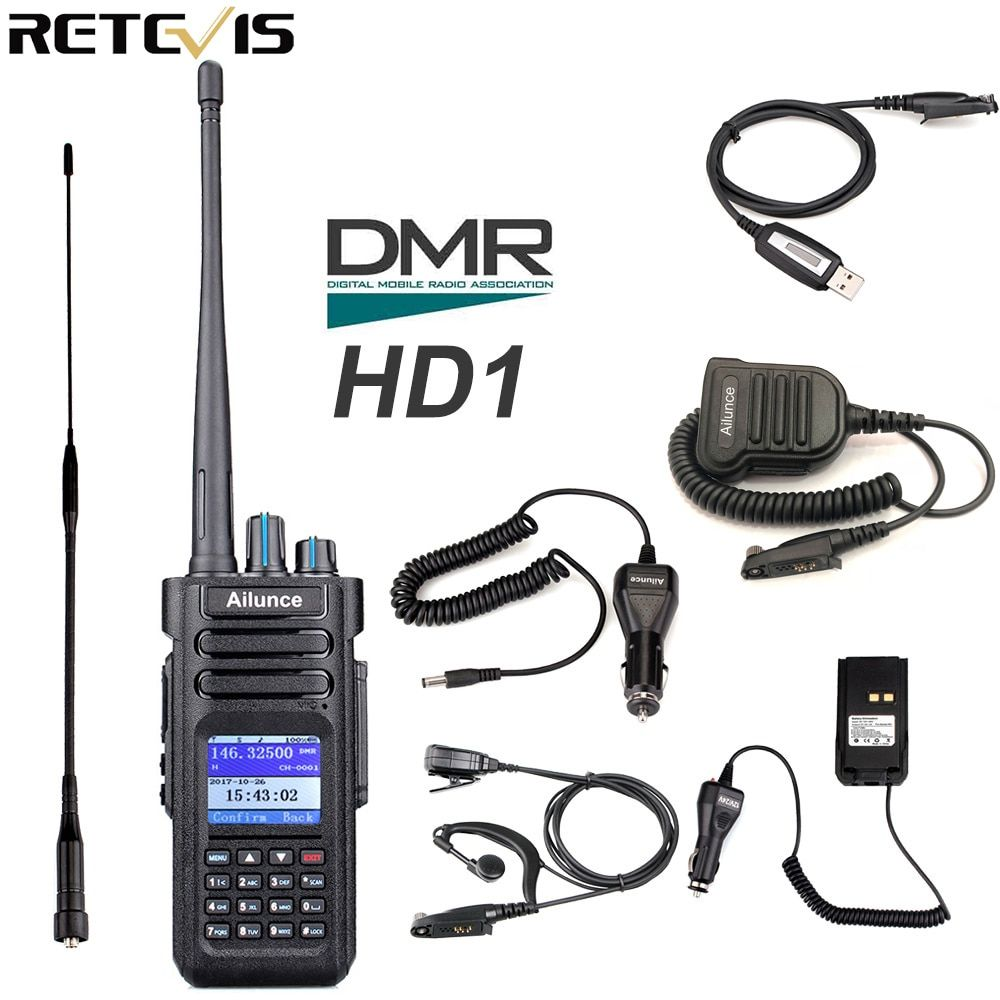 Retevis Ailunce HD1 Dual Band DMR Digital Walkie Talkie DCDM TDMA VHF UHF Ham Radio Hf Transceiver Radio Amador + Accessories