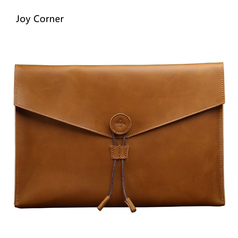 Joy Corner Drop Shipping Business Fashion Document Bag Leather Retro File Storage Genuine Leather For Papers Files