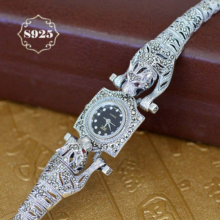 2018 New Arrival Limited Cheetah Watch Classic Fine Jewelry S925 Silver Pure Thai Silver Leopard Rhinestone Bracele Watches