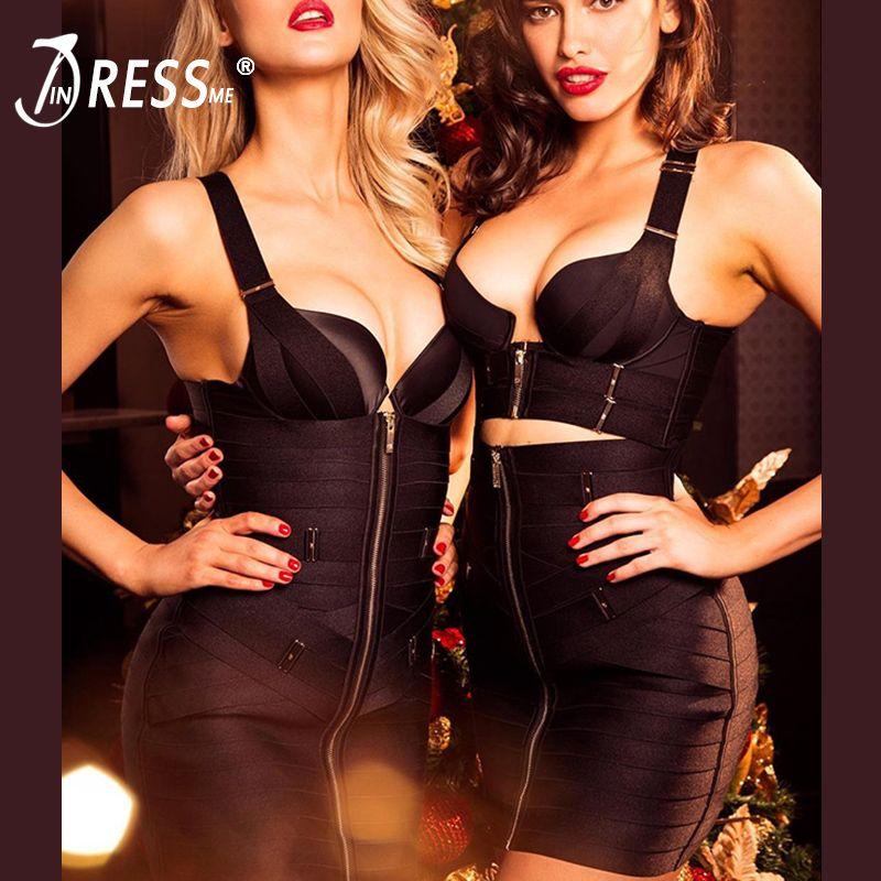 INDRSESME V-Neck Strapless Bandage Dress For Women Metal Spaghetti Strap Zipper In Front Club Dress 2018 Vestidos Fashion
