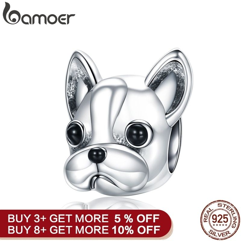 BAMOER 925 Sterling Silver Loyal Partners French BULLDOG Doggy Animal Beads fit Women Charm Bracelets Dog DIY Jewelry SCC315