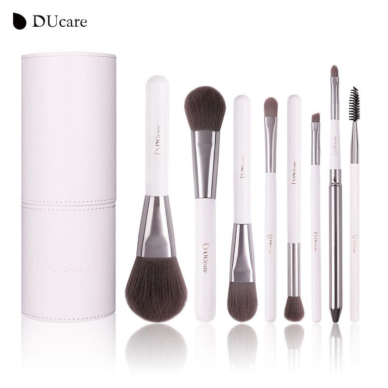 DUcare 8 pièces ensemble de pinceaux cosmétiques pinceaux de maquillage professionnel haut cheveux synthétiques manche en bois naturel avec cylindre blanc