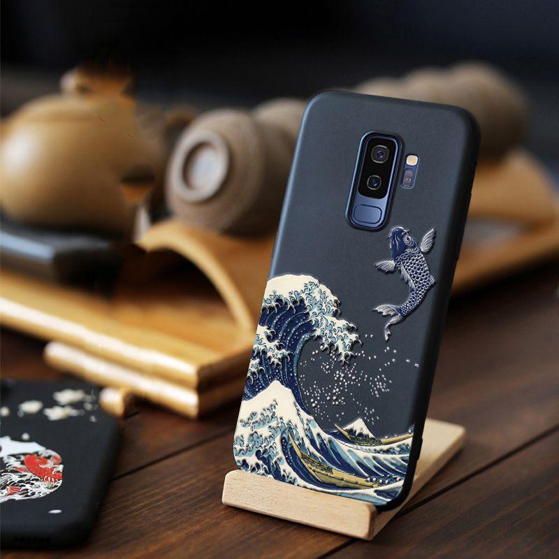 Pour Samsung Galaxy S10 S10e Note 9 8 S9 S8 Plus S7 S6 edge étui 3D en relief mat couverture arrière souple LICOERS étui officiel Fundas