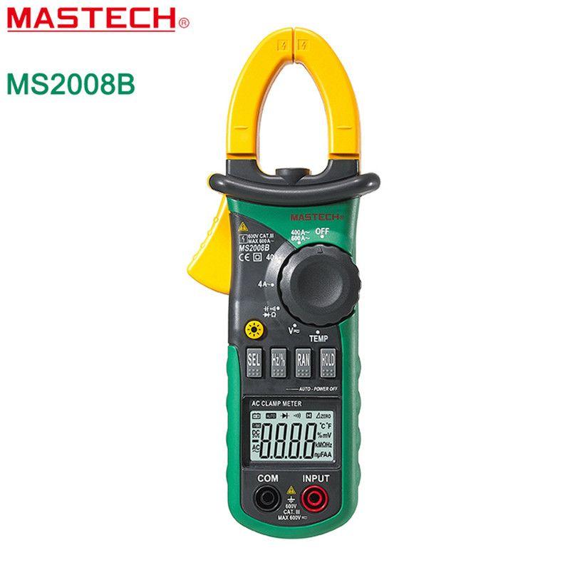 MASTECH Digital Multimeter Auto Manual Range Amper Clamp Meter AC/DC Current Voltage Capacitor Resistance Tester