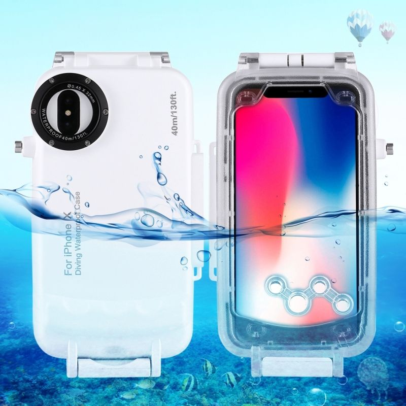 For iPhone X 40m/130ft Professional Waterproof Diving <font><b>Protective</b></font> Housing Photo Video Underwater Cover Case
