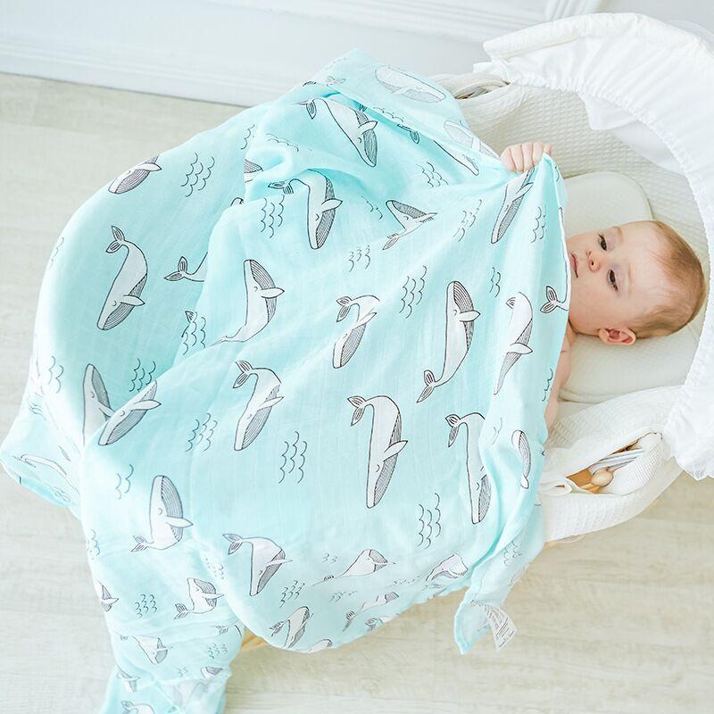 Mousseline arbre nouveau-né mousseline Swaddle bébé multi-usage bambou coton couverture infantile nouveau-né attache kangourou pour bébé 120X120 cm