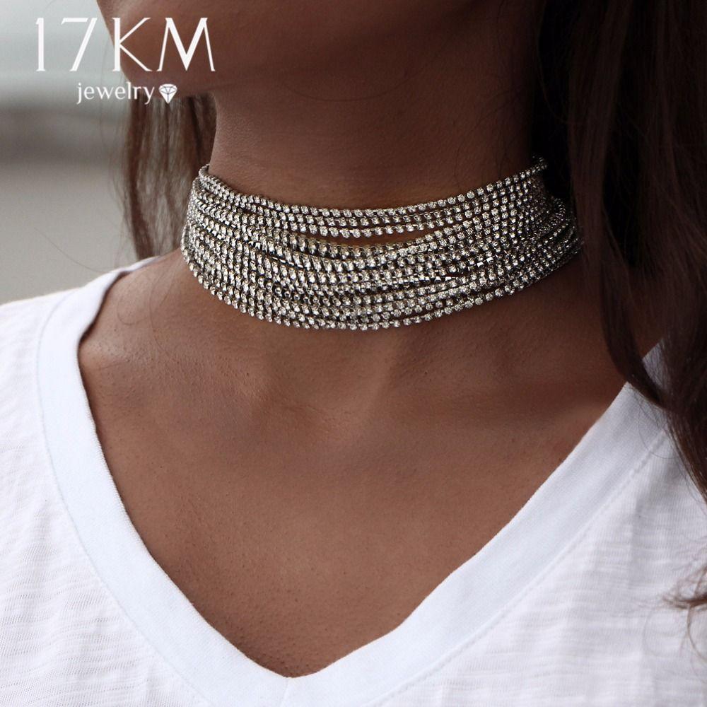 17 KM Mehrere schichten Strass Kristall Chokerhalskette für Frauen Neue Bijoux Maxi Erklärung Halsketten Collier Modeschmuck