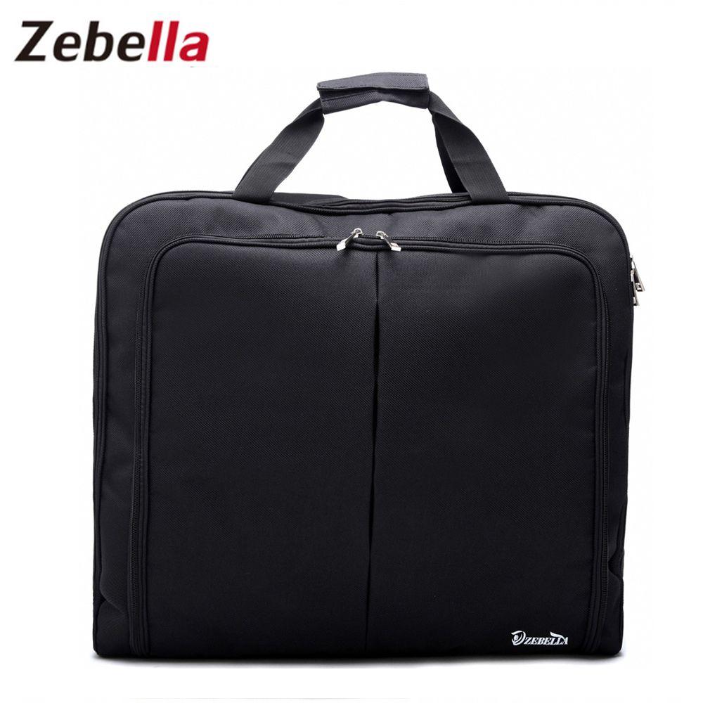 Zebella imperméable à l'eau noir Zipper sac de vêtement costume sac Durable hommes d'affaires voyage sac de voyage pour costume vêtements cas grand organisateur