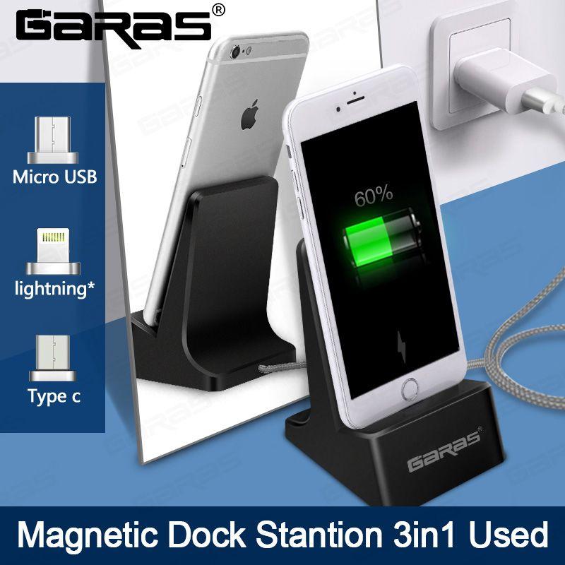 GARAS Dock Station, Aimant De Bureau/Micro USB/Type c station de recharge Pour Android/Iphone Dock Station magnétique Câble Dock De Bureau