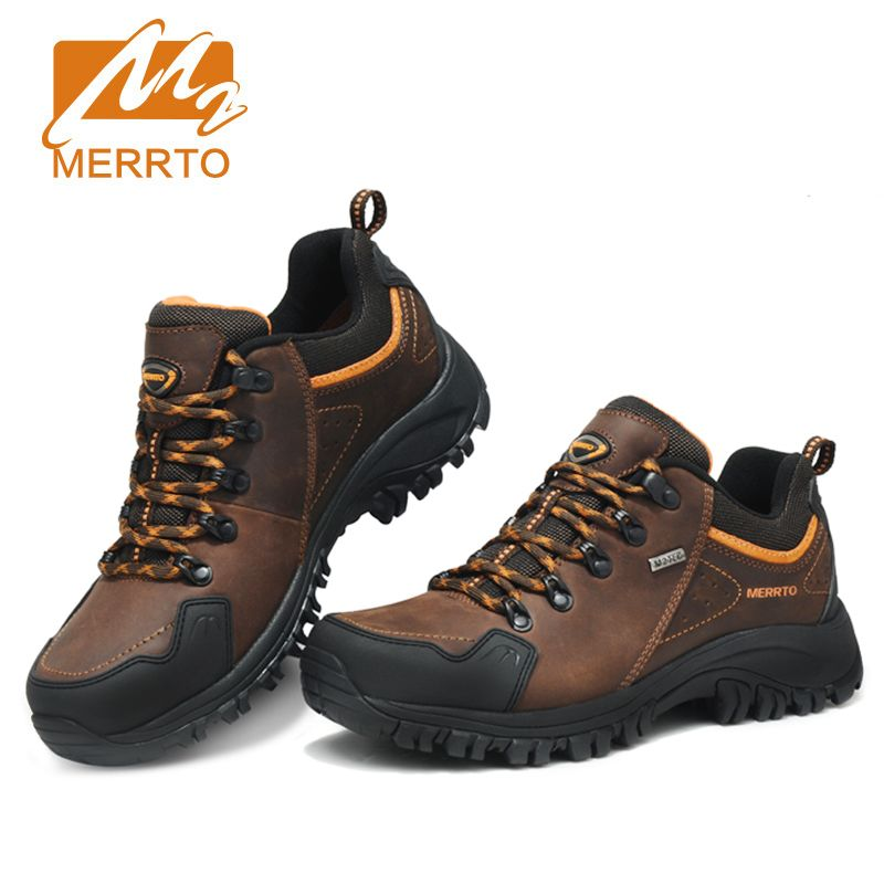 Merrto Men Waterproof Hiking Shoes Outdoor Sports Shoes Genuine Leather Sneakers Breathable Walking Mountain Trekking Shoes Men