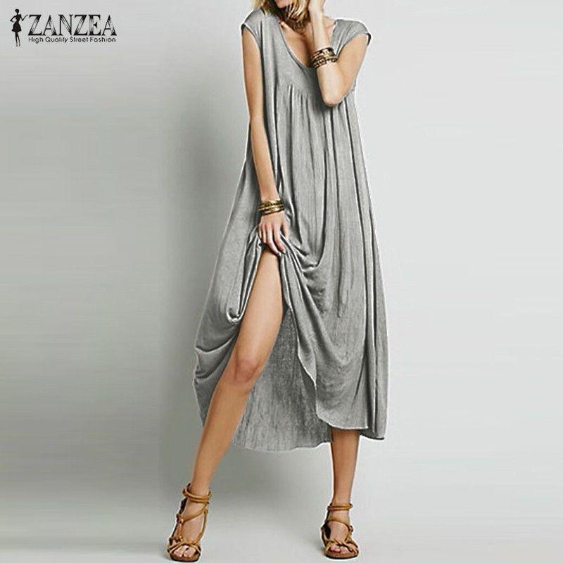 ZANZEA Mode 2018 Femmes Robe Sans Manches Coton Longue Maxi Parti Robes Casual Lâche Plage Robes Plus La Taille S-5XL