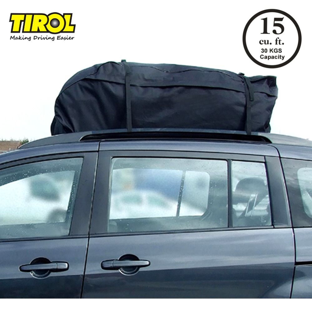 TIROL Water Resistant Roof Bag 15 Cubic Feet Roof Top Cargo Carrier for vehicles with roof rails SUV Van Cargo Box T20656b