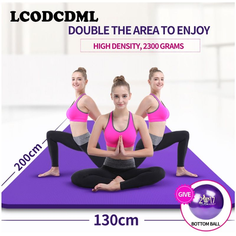 high-quality double yoga mat, broaden 130 thickening, dance mat, sports mat, fitness pad beginner extended Yoga blanket