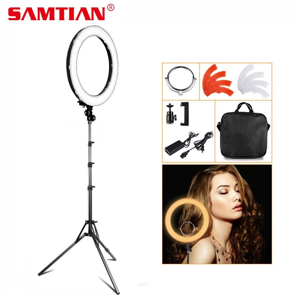 SAMTIAN 18 LED Ring <font><b>Light</b></font> Makeup Mirror Ring Lamp for Photo Studio YouTube Annular Lamp with Tripod 55W 5500K CRI90 240 LEDs
