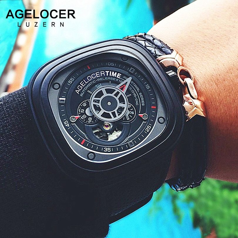 Mechanical Men's Watches AGELOCER Brand Men Sports Watch Famous Brand aaa Leather Wristwatch 50M Diver Watch Relogio Masculino