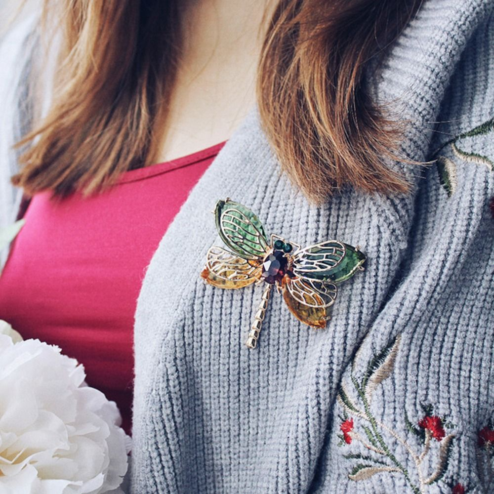 eManco Green Cute Animal & Insect Dragonfly Brooches Pins for Women Blue Crystal Brooch Clothing Accessories Fashion Jewelry