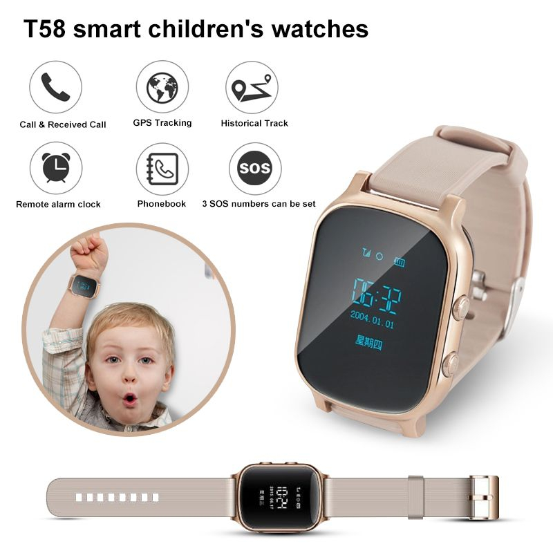 T58 Smart Watch Tracker Locator Anti-Lost SOS Call Kids Smartwatch Baby Gps Watches relogio For Android IOS reloj inteligente