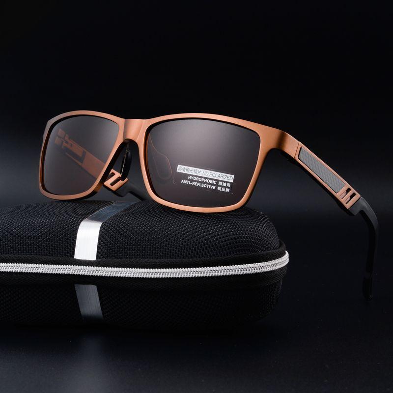 De aluminio y magnesio gafas de sol polarizadas de los hombres diseñador de la Marca gafas de sol de Las gafas de sol del conductor vasos de conducción lente gafas de sol