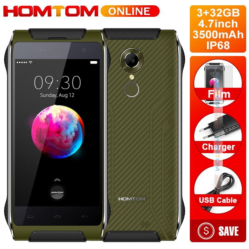 HOMTOM Smartphone HT20 PRO IP68 Waterproof MTK6753 3G RAM 32G ROM Octa Core Phone 8.0MP 4.7 Inch 4G Back Fingerprint ID FDD-LTE