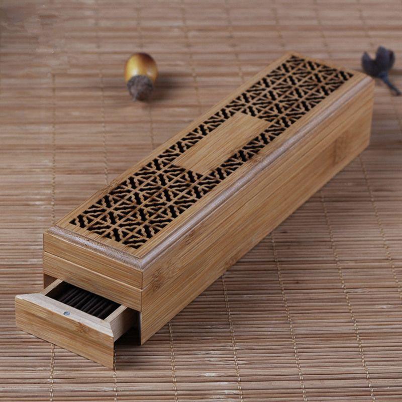 Bambou Encens Brûleur avec Tiroir Zen Joss Bâton Cense Boîte De Rangement Creux En Bois Cas Boîte Incenso Bâtons Titulaire De Yoga/ accueil/Temple