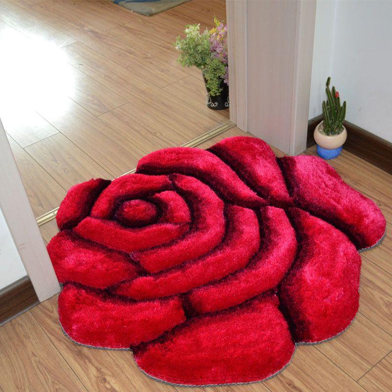 3D impreso flor sólida forma baño Alfombras alfombras 70*70 cm pad puerta piso Esterillas para la decoración de la boda dormitorio alfombras s mala Esterillas tapetes