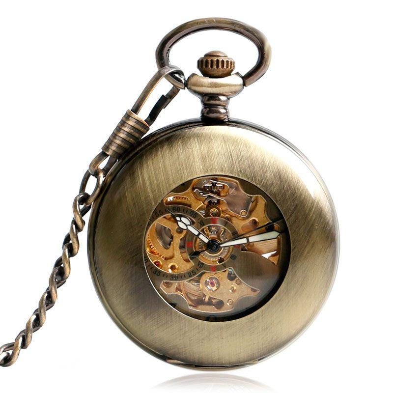 Reloj de Bolsillo de bronce Fresco Reloj Mecánico Automático Caja Suave Auto Viento Hombres de La Moda de Cobre de La Cadena Retro Colgante de Regalo Exquisito