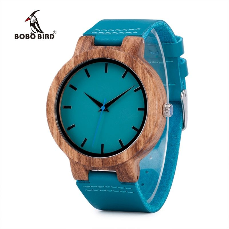 BOBO BIRD C28 Casual Bamboo Wood Watch For Men And Women Turquoise Blue Quartz Analog Watch With <font><b>Gift</b></font> Box