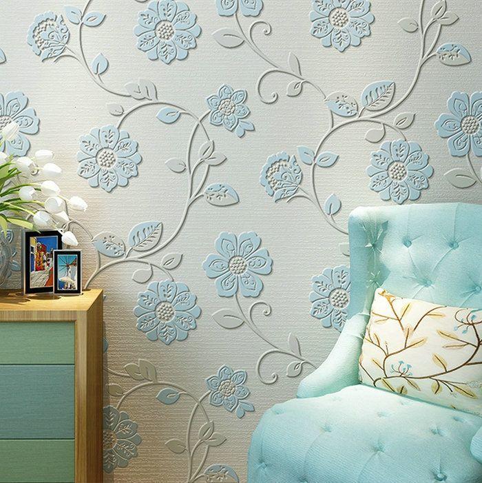 Hohe qualität 0,53 mt * 10 mt Moderne Luxus 3d wallpaper rolle wand papel de parede beflockung für gestreiften wand papier 5 farbe
