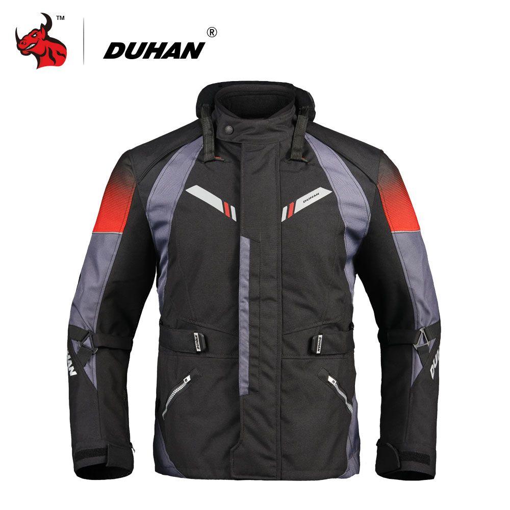 DUHAN Motorcycle Jacket Men Autumn Winter Touring Moto Jacket Protective Gear Waterproof Cold-proof Motorbike Clothing Black