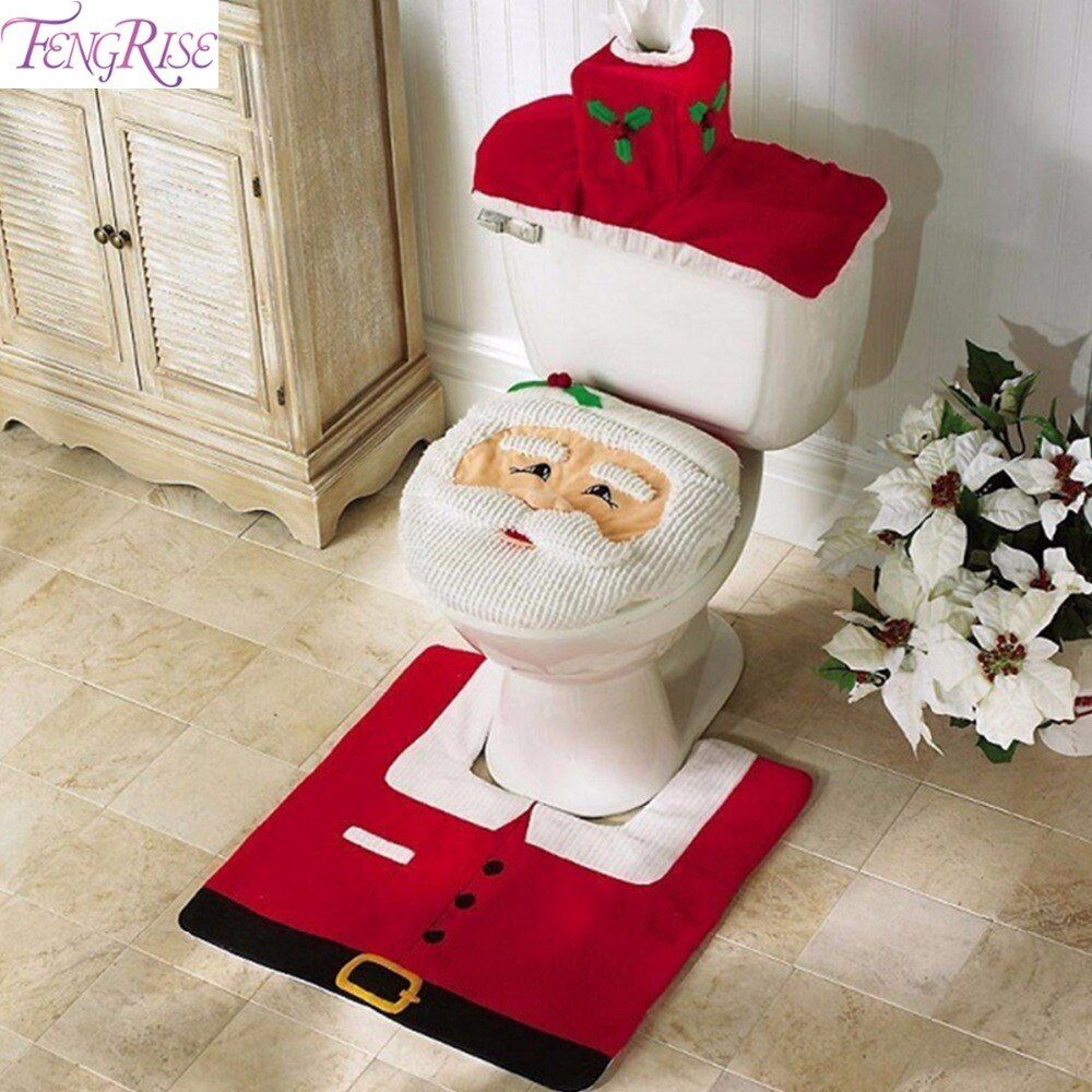Fengrise Санта Клаус Ковры Чехлы для сиденья унитаза Ванная комната комплект Merry Рождество Аксессуары для дома Новый год Navidad украшения 2017
