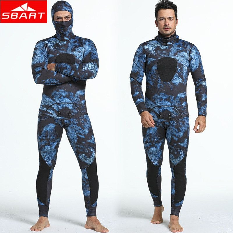 SBART 3mm Neoprene Wetsuits Camouflage Two-pieces Keep Warm Diving Wetsuits Swimming Snorkeling Spearfishing Scuba Diving Suits
