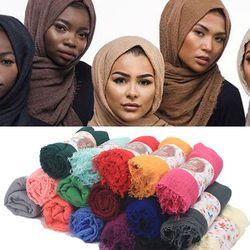 2018 Women Premium Cotton Hijabs Plain Crinkle Cloud Hijab Scarf Shawl Soft Islam Muslim Headcover