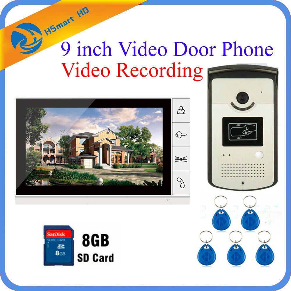 9 дюймов Цвет телефон видео домофон Дверные звонки Системы 8 ГБ SD карты видео Запись + 1 Мониторы + RFID доступа Водонепроницаемый HD ИК Камера