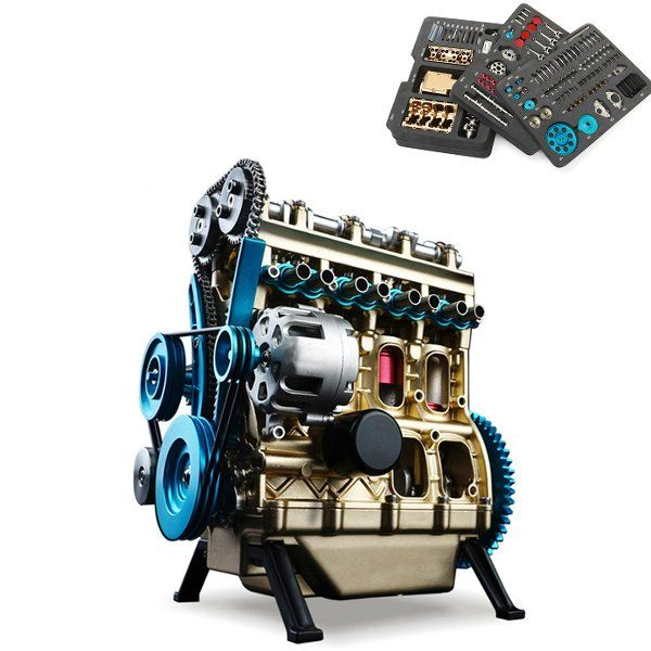 New Arrival Teching 1:24 Four-Cylinder Engine Full Aluminium Alloy Model Collection Educational Toys Children Adult Toys