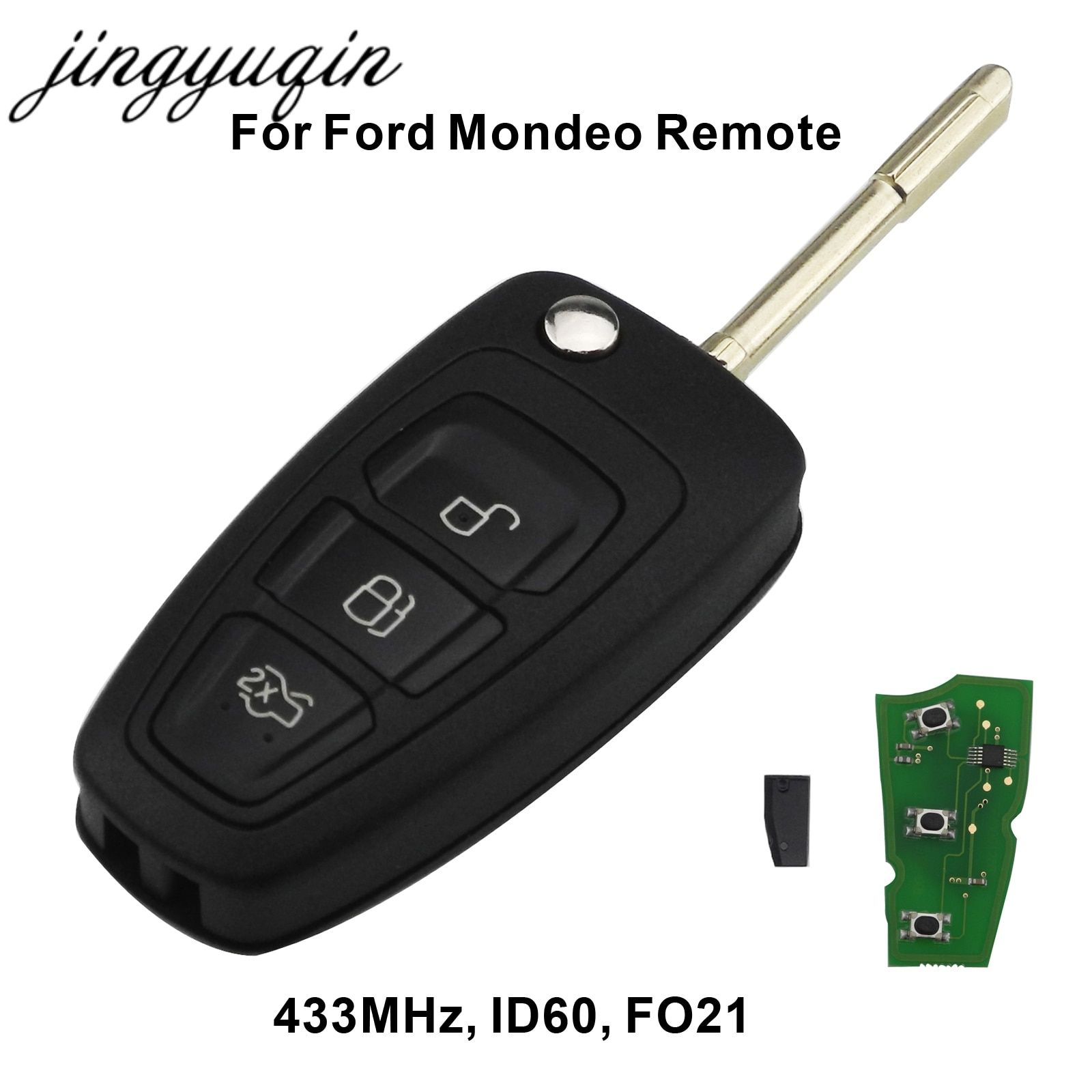 Jingyuqin 3 Tasten Flip Remote Key Fob Mit Chip 4D60 Für Ford Focus Mk1 Mondeo Transit Connect 433 mhz