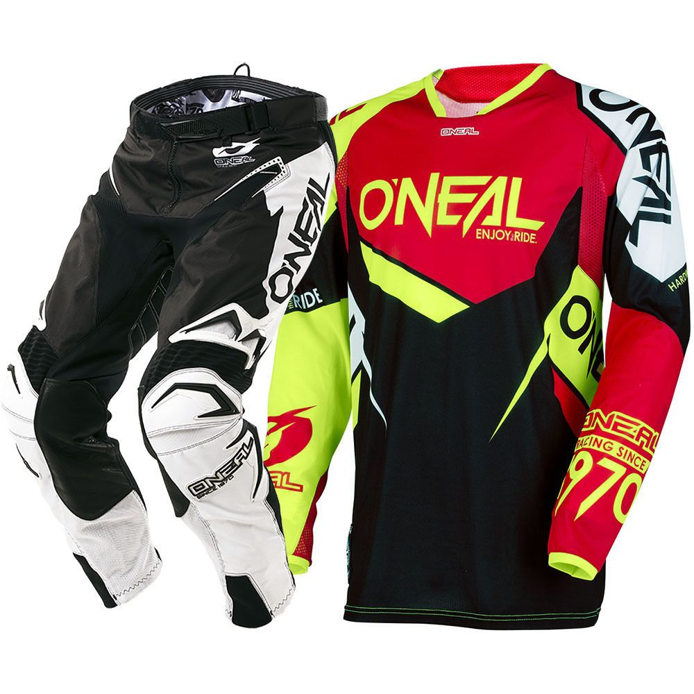 NEW Oneal 2018 MX Hardwear Flow-True Red Hi-Viz Jersey Pants Motocross Riding Racing Combo MTB DH Off-Road Gear Set