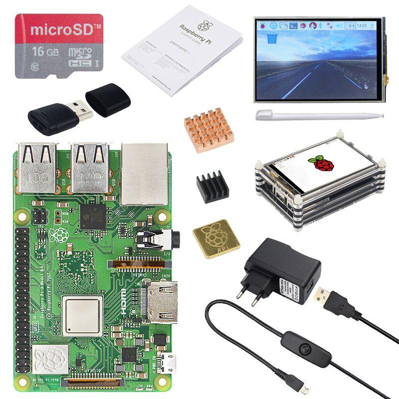 Raspberry Pi 3 Modell B + (B Plus) + 3,5 zoll Touchscreen + Acryl Fall + 2.5A Netzteil + 16g SD Karte + Kartenleser + 3 stücke Kühlkörper