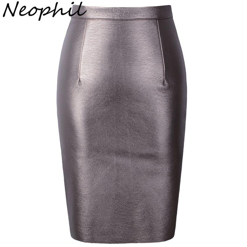 Neophil 2019 Sexy fausse fourrure cuir Pu taille haute Midi femmes jupes crayon XXL bureau Wrap moulante courte filles Tutu Saia S08019