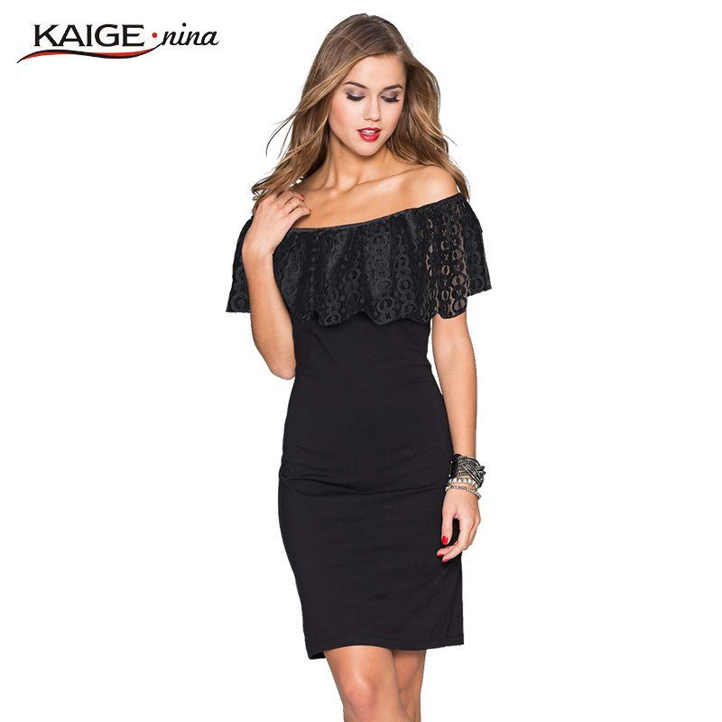 Kaige Nina Mujeres Vestido de verano Bodycon Viste con El cordón Más El Tamaño Elegante Elegante fuera del hombro Vestidos de Partido de Tarde 9023